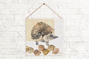 Hedgehog By Julia Burns On Hanging Wooden Plaque