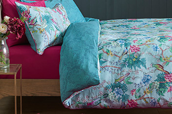 Blue Birds Sateen Bed Set