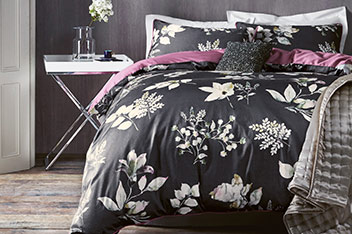 Cotton Sateen Dark Floral Bed Set