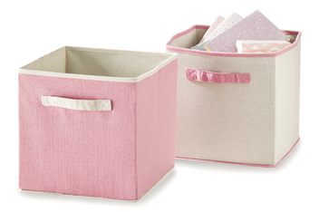 Set Of 2 Light Pink Storage Cubes
