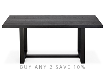 Black Painted Solid 6 Seater Dining Table