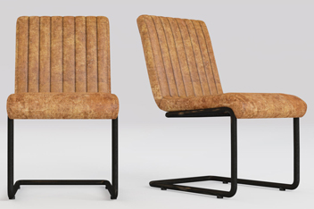 Set Of 2 Bernie Real Leather Antique Tan Dining  Chair