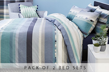 2 Pack Teal Stripe Bed Set