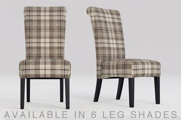Set Of 2 Woodford Tweedy Check Dark Natural Dining Chairs