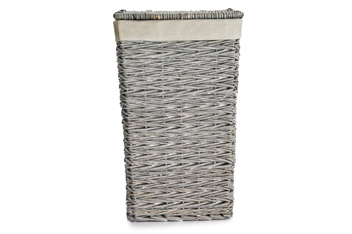 Grey Wicker Laundry Bin