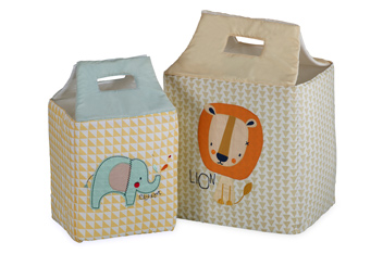 Set Of 2 Little Zoo Brights Storage Tubs