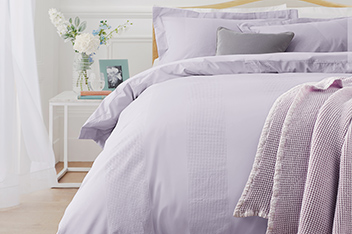 Collection Luxe 300 Thread Count Cotton Waffle Stripe Bed Set