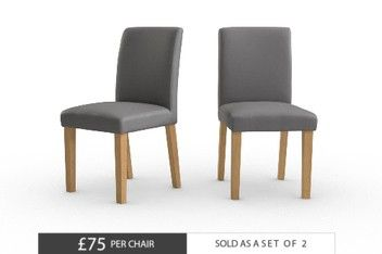 Set Of 2 Moda II Faux Leather Dining Chairs