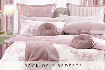2 Pack Cotton Rich Dusky Pink Damask Bet Set