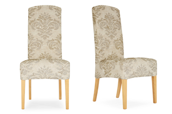 classic jacquard natural damask set of 2 sienna dining chairs