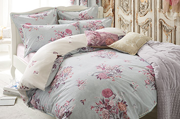 Stone Washed Effect Cotton Rich Teal Floral Bed Set
