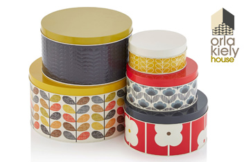 Set Of 5 Orla Kiely Multi Stem Cake Tins