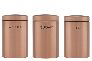 Set Of Three Copper Effect Storage Jars