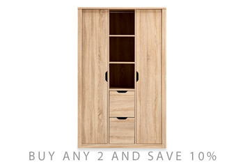 Compton Oak Effect Triple Wardrobe