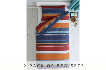 2 Pack Bright Check Bed Set
