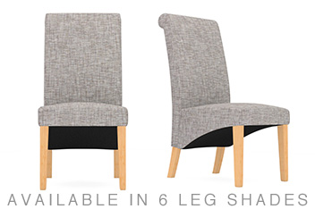 Set Of 2 Harlow Bouclé Blend Light Dove Dining Chairs