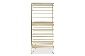 Brass Effect Two Tier Storage Unit With Glass Top
