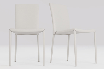 Set Of 2 Paolo Faux Leather Dining Chairs