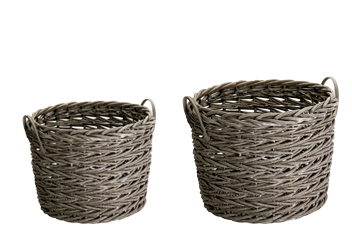 Set Of 2 Grey Willow Baskets