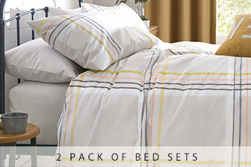 2 Pack Fresh Check And Stripe Bed Set