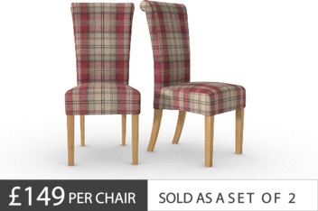 Set Of 2 Woodford Tweedy Check Morcott Red Dining Chairs