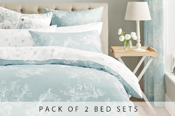 2 Pack Duck Egg Toile Bed Set