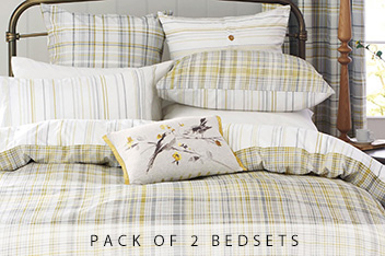 Two Pack Ochre Check Bed Set