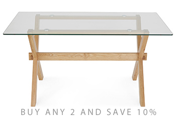 Oak And Glass Rectangle Dining Table