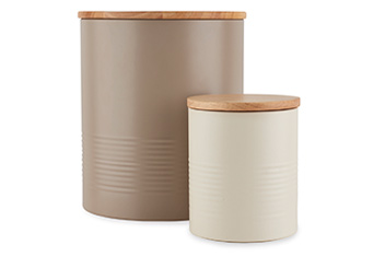 Set of 2 Ripple Bread Bin And Biscuit Tin