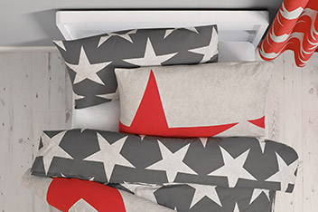 2 Pack Grey And Red Stars Bed Set
