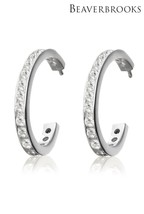 Beaverbrooks Silver Cubic Zirconia Hoop Earrings