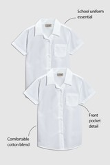 White Short Sleeve Blouse Two Pack (3-16yrs)