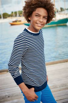 Navy Stripe Crew Neck (3-16yrs)