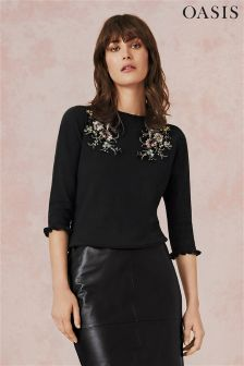 Oasis Black Shipwrecked Embroidered Knit