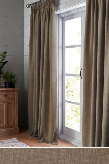 Bouclé Pencil Pleat Lined Curtains