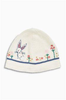 Ecru Embellished Knit Hat (0mths-2yrs)