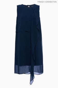 French Connection Blue James Sheer Block Frill Dress