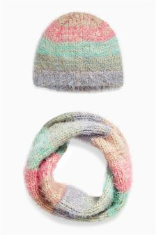Stripe Hat And Snood Set (Older Girls)