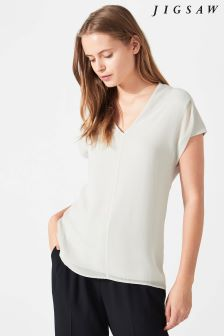Jigsaw Grey Silk Front Pleat Top