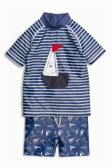 Navy Boat Two Piece Set (3mths-6yrs)