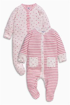 Pink Strawberry Sleepsuits Two Pack (0mths-2yrs)