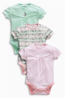 Pink Short Sleeve Floral Bodysuits Three Pack (0mths-2yrs)