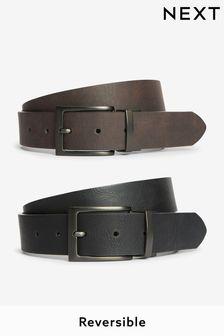 Brown And Black PU Reversible Belt