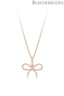 Beaverbrooks Silver Rose Gold Plated Cubic Zirconia Bow Pendant