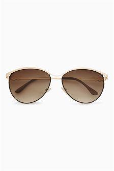 Gold Metal Brow Cat Eye Sunglasses