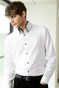 White Double Collared Shirt