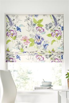 Illustrative Fusion Floral Print Roman Blind