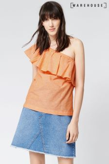 Warehouse Orange Linen Ruffle One Shoulder Top