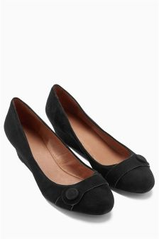 Forever Comfort Leather Mid Wedge Shoes