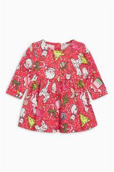 Christmas Print Dress (0mths-2yrs)
